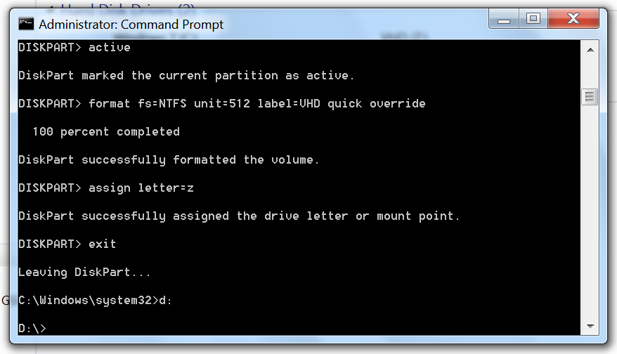 Leave the DiskPart prompt