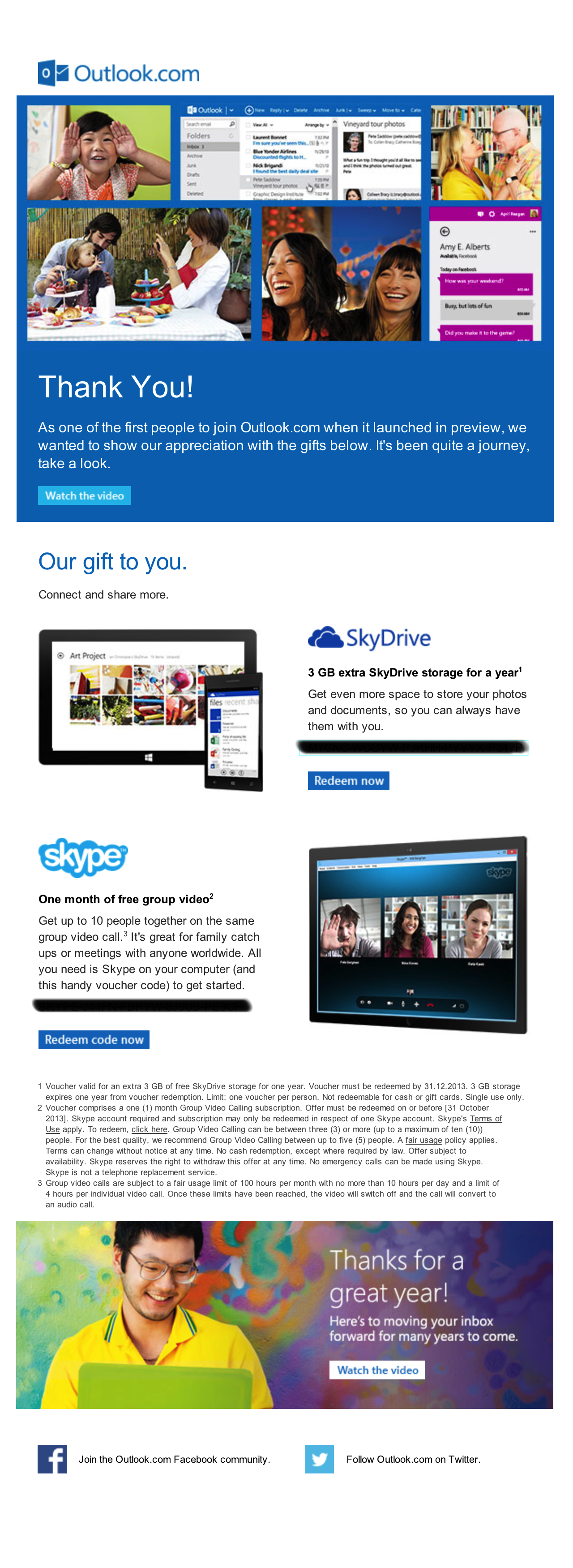 Outlook.com provides 3GB SkyDrive and Group call on Skype