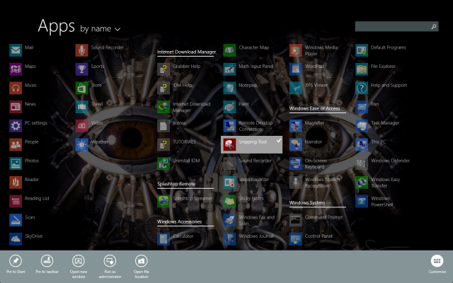 Snipping tool in Windows 8