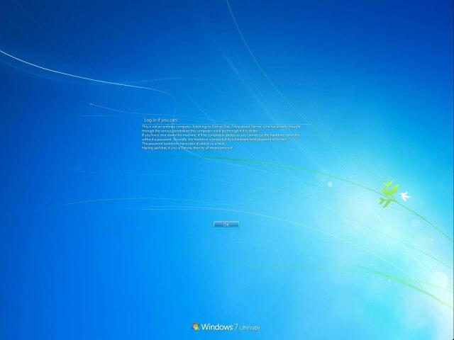 Windows 7 login warning