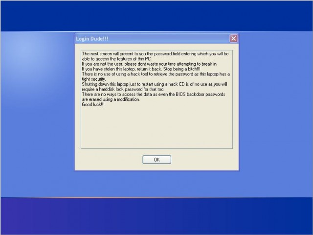 Windows XP login warning